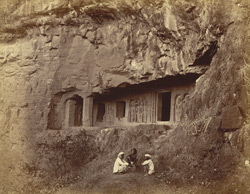 [Façade of The Milkmaid's Cave (Cave XXVII), Ellora.]